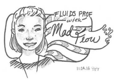 fluids prof portrait by student